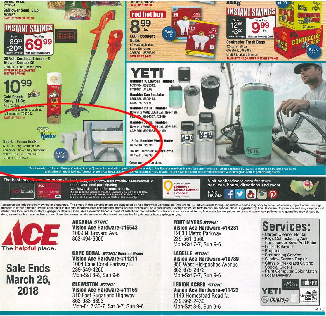 MIDE Fence Hooks In Ace Hardware Flyer in Florida