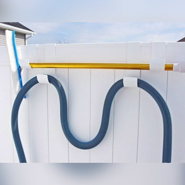 MIDE Fence Hooks Combo Pack on Whaite Vinyl Fence
