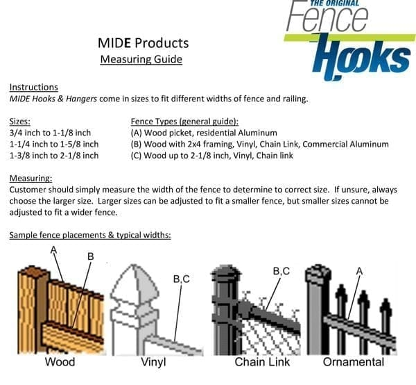 MIDE products fence hooks how to measure