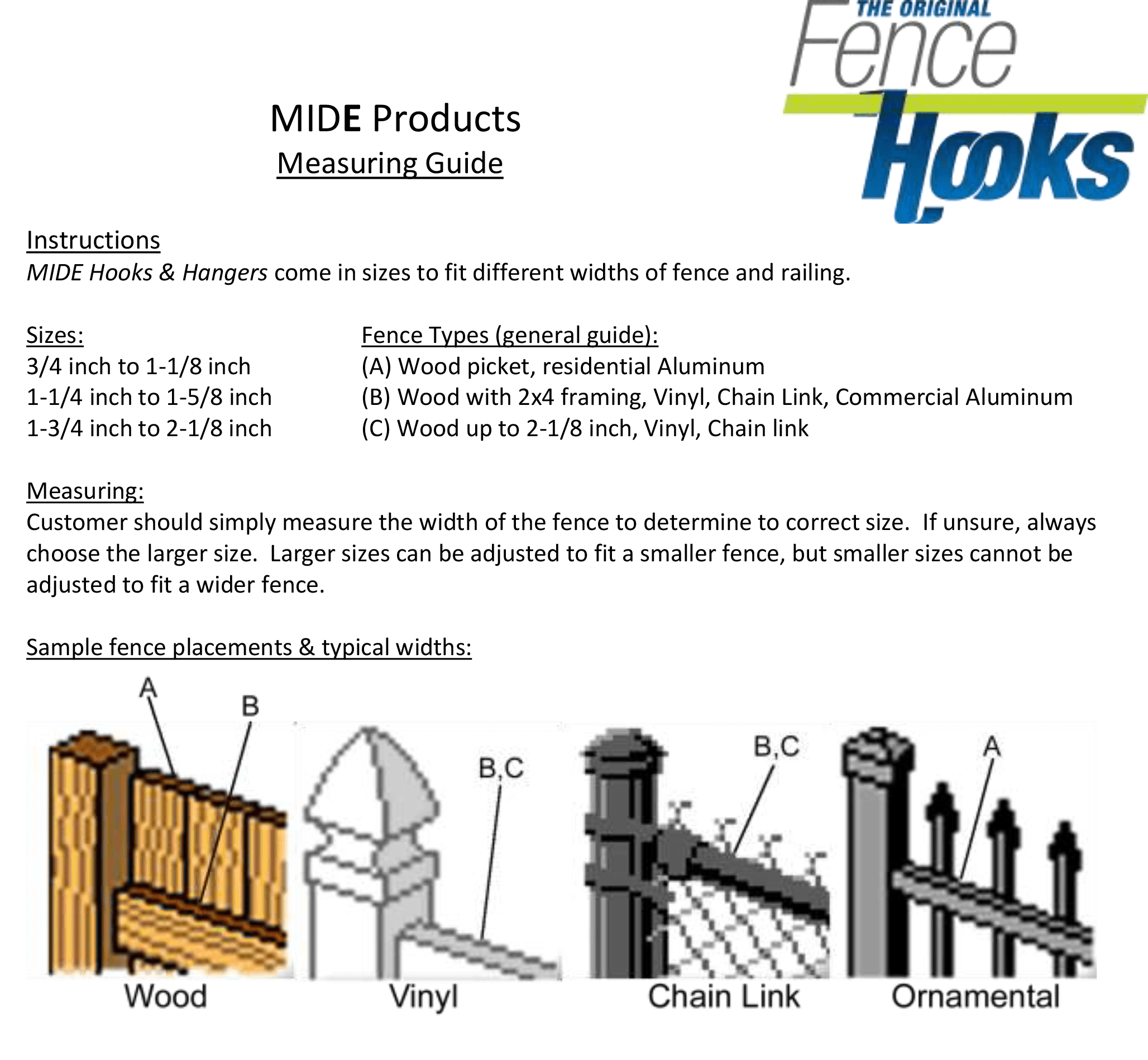 MIDE Hooks and Hangers mesuring guide