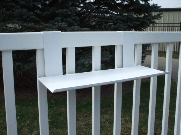MIDE Straight White Shelf on White Vinyl Fence